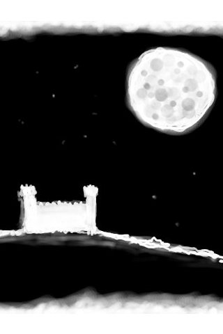 The Castle and Moon wallpaper version