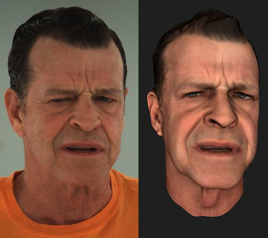 John Noble in real life and in MotionScan.